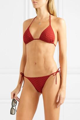 Eres Veston Seersucker Triangle Bikini Top - Red
