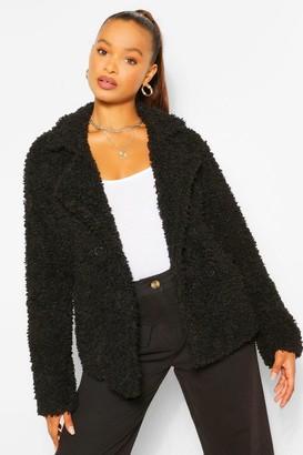 boohoo Double Breasted Faux Fur Teddy Coat