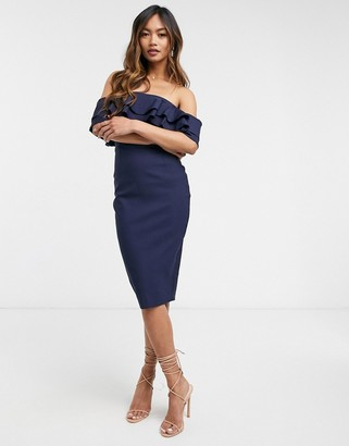 Vesper off shoulder bodycon midi dress in navy
