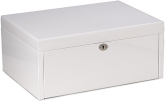 Bey-Berk Leighton White Lacquer Jewelry Chest