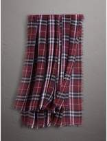 Burberry Check Modal and Wool Square Scarf, Red