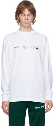 Palm Angels White Palm Airlines Long Sleeve T-Shirt