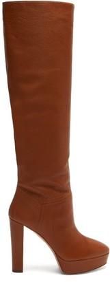 Aquazzura Chambord 120 Leather Knee-high Boots - Brown