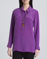 Eileen Fisher Silk Crepe de Chine Long-Sleeve Shirt