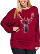 Celeste Burgundy & Plaid Deer Dolman Tunic - Plus