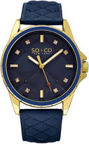 SO & CO Ny Women's Quilted Design Soho Blue Quilted Genuine Leather Strap And White Quilted Dial Casual Quartz Watch J159P05