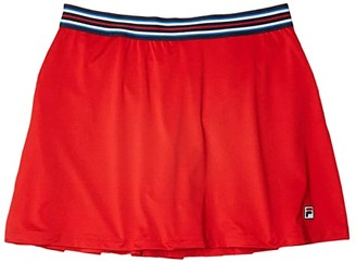 Fila Heritage Tennis A-Line Skort (Chinese Red/Navy) Women's Clothing