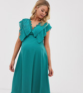 Asos DESIGN Maternity double layer pleat sleeve midi dress with scallop trim