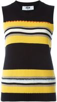 MSGM striped knitted tank top - women - Cotton - L