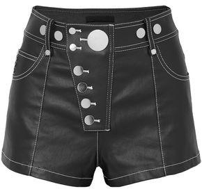 Alexander Wang Studded Coated Denim Shorts