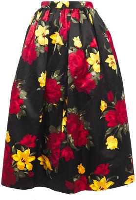 Michael Kors Gathered Floral-print Cotton And Silk-blend Satin Midi Skirt