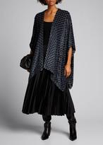 eskandar Velvet-Checkered Chiffon Tabard