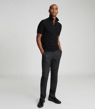Reiss Acton - Cotton Blend Polo Shirt in Black