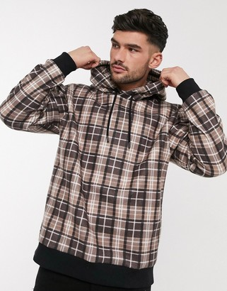 Topman checked hoodie in brown