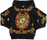 Dolce & Gabbana Hooded Crest Printed Cotton Sweatshirt