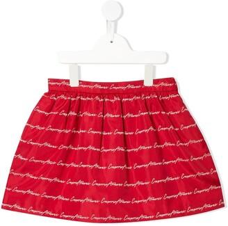 Emporio Armani Kids Logo Embroidered Flared Skirt