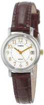 "Timex Women's T2N3369J ""Elevated Classics"" Brown Leather Strap Watch"