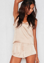 Missy Empire Violet Beige Satin Pyjama Set