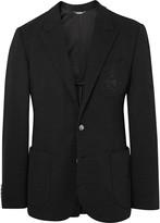 Dolce & Gabbana Black Slim-Fit Embroidered Virgin Wool Blazer