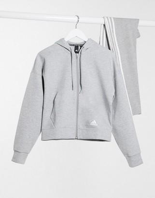adidas 3-Stripe Hoodie In Medium Grey Heather & White