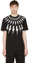 Neil Barrett Black Fairisle Thunderbolt T-Shirt