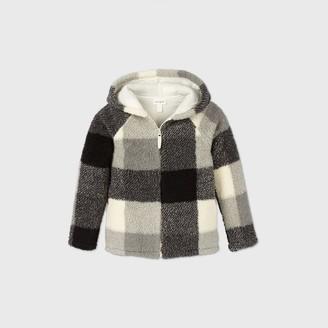 Cat & Jack Girls' Buffalo Check Sherpa Zip-Up Sweater - Cat & JackTM