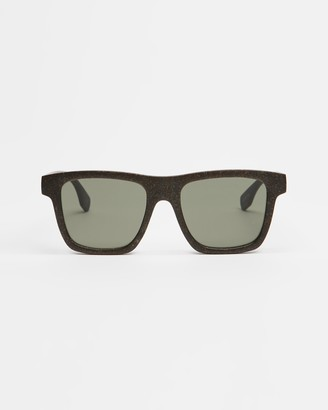 Le Specs Brown Square - Sustain - Grassy Knoll - Size One Size at The Iconic