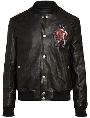 Diesel Larax-Mask Embroidered Leather Bomber Jacket