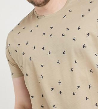 Burton Menswear Big & Tall recycled t-shirt with bird print in sand