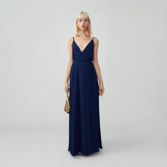 Fame & Partners Gathered Open Back Wrap Dress