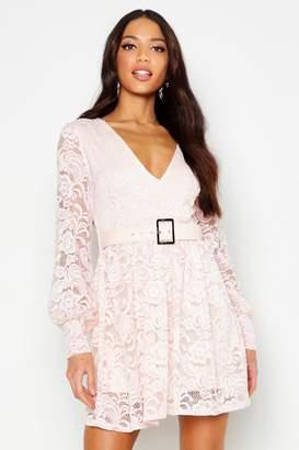 boohoo Belted Plunge Lace Skater Dress