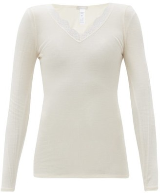 Hanro Lace-trimmed Rib-knitted Wool-blend Pyjama Top - Cream