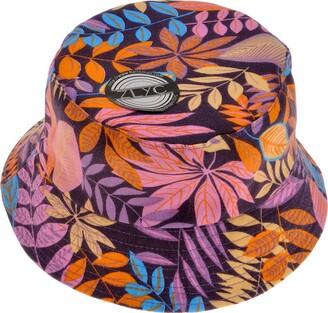 ZLYC Unisex Funky Floral Plant Rainforest Print Canvas Bucket Hat Fishmen Cap (Purple)