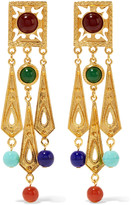 Ben-Amun Gold-tone bead clip earrings