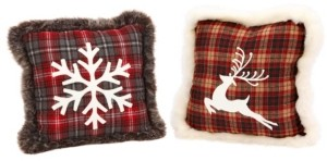 Sterling Plush, Plaid Holiday Pillows with Snowflake and Reindeer Designs - Set of 2
