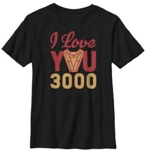 Fifth Sun Marvel Big Boy's Avengers Endgame Iron Man I Love You 3000 Red Yellow Logo Short Sleeve T-Shirt