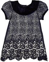 Isabel Garreton Lace & Velvet Dress-NAVY