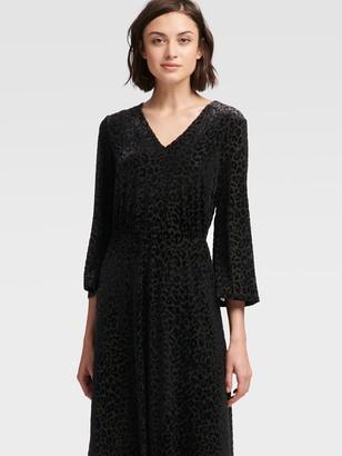 DKNY Women's Printed Velvet Midi Dress - Black - Size 00