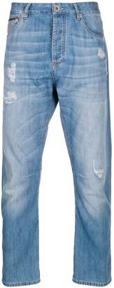 Brunello Cucinelli Distressed Straight-Leg Jeans