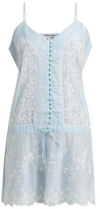 Juliet Dunn Embroidered Cotton Slip Dress - Womens - Light Blue