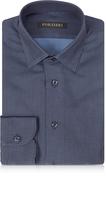 Forzieri Navy Blue Mini Dots Cotton Slim Fit Men's Shirt