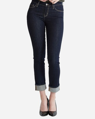 Express Flying Monkey Mid Rise Cuffed Slim Straight Cropped Jeans