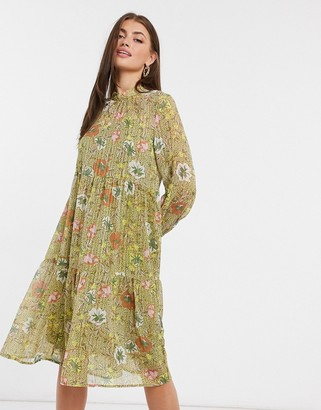 Vero Moda chiffon midi dress with high neck in green floral