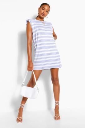 boohoo Stripe Shoulder Pad T-Shirt Dress