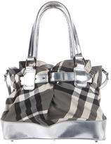 Burberry Leather-Trimmed Beat Check Satchel