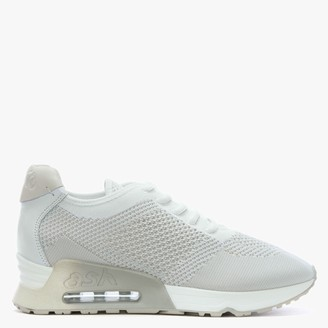 Ash Lucky White Marble Leather & Woven Trainers