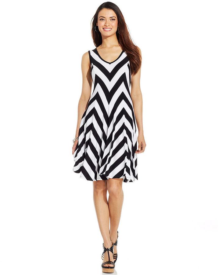 Style&Co. Chevron-Print A-Line Dress
