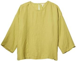 Eileen Fisher Jewel Neck Box-Top (Field) Women's Short Sleeve Pullover