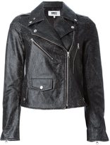 MM6 MAISON MARGIELA biker leather jacket - women - Calf Leather/Polyester - 42