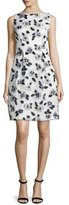 Lela Rose Betsy Full-Skirt Floral Sheath Dress, Ivory/Black
